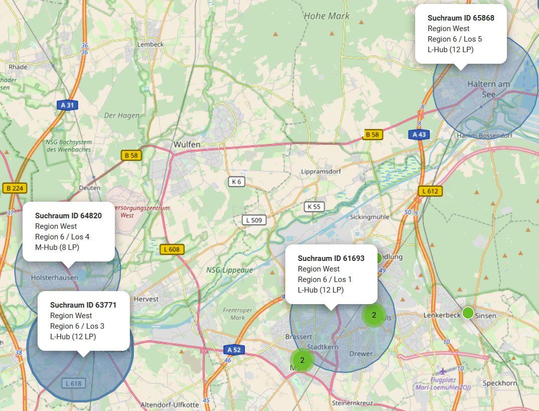 Karte der geplanten regionalen Schnellladepunkte